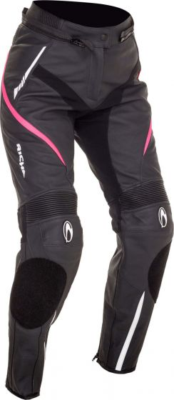 Richa Nikki Ladies Leather Trousers - Black/Pink