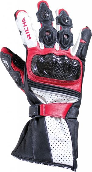 Richa Ravine Leather Gloves - Black/Red